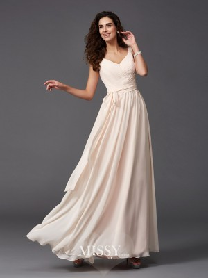 A-Line/Princess Straps Sleeveless Sash Floor-Length Chiffon Bridesmaid Dresses