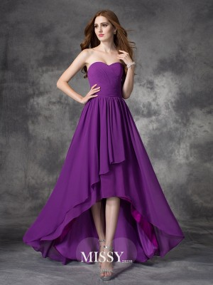A-line/Princess Sweetheart Sleeveless Ruffles Asymmetrical Chiffon Bridesmaid Dress