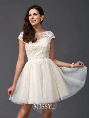 A-Line/Princess Scoop Short Sleeves Net Short Dresses