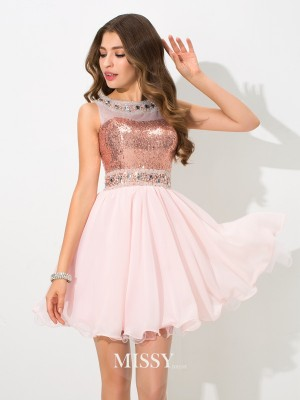 Princess Sheer Neck Sleeveless Sequin Short/Mini Chiffon Cocktail Dresses