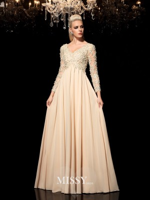 A-Line/Princess V-neck Long Sleeves Applique Floor-Length Chiffon Dresses