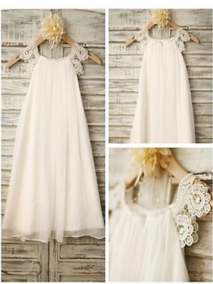 A-line/Princess Scoop Sleeveless Lace Tea-Length Chiffon Little Girl Dresses