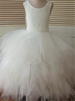Ball Gown Scoop Sleeveless Lace Floor-Length Organza Little Girl Dresses