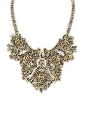 Occident Exotic Metallic flower pattern Necklace
