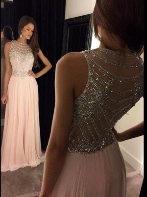 A-Line/Princess Scoop Sleeveless Chiffon Crystal Floor-Length Dress