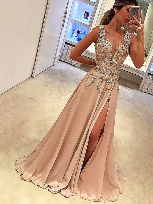A-Line/Princess V-neck Floor-Length Applique Silk like Satin Dresses