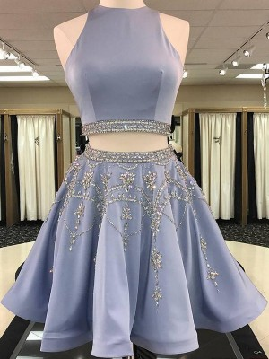 A-Line/Princess Bateau Short/Mini Beading Satin Two Piece Dresses