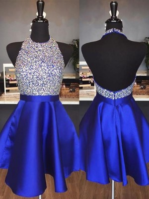 A-Line/Princess Halter Short/Mini Beading Satin Dresses