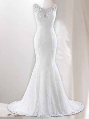 Trumpet/Mermaid V-neck Sweep/Brush Train Lace Wedding Dresses