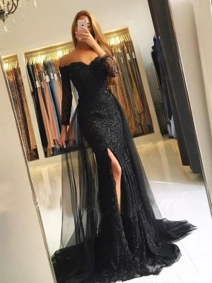 Trumpet/Mermaid Off-the-Shoulder Sweep/Brush Train Lace Tulle Dresses