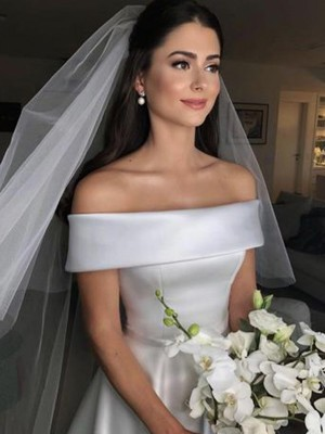 A-Line/Princess Off-the-Shoulder Sleeveless Sweep/Brush Train Satin Wedding Dresses