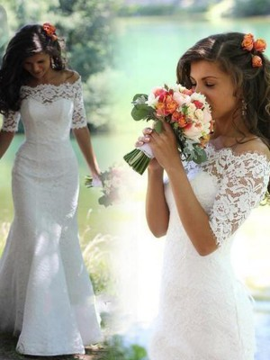 Trumpet/Mermaid Off-the-Shoulder 1/2 Sleeves Sweep/Brush Train Wedding Dresses With Lace