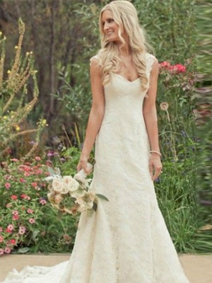 Trumpet/Mermaid Sleeveless Sweep/Brush Train V-neck Wedding Dresses