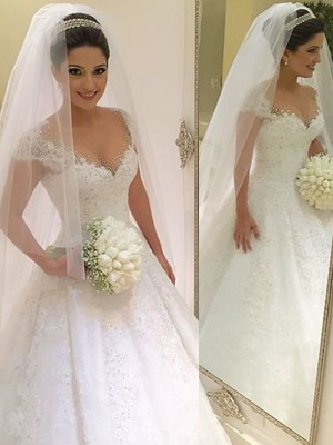 Ball Gown Sleeveless V-neck Floor-Length Tulle Wedding Dresses With Beading