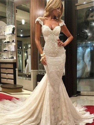 Trumpet/Mermaid Sleeveless Chapel Train V-neck Wedding Dresses With Lace
