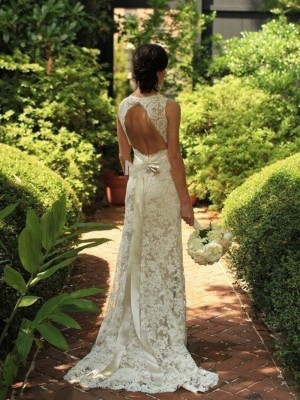 Sheath/Column Sleeveless V-neck Sweep/Brush Train Wedding Dresses
