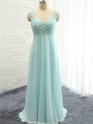 Light Sky Blue A-Line/Princess Sleeveless Sweetheart Long Chiffon Bridesmaid Dress With Beading