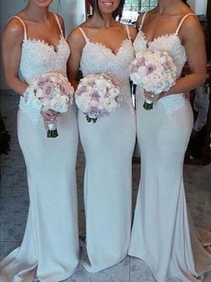 Ivory Sheath/Column Sweetheart Sleeveless Satin Sweep/Brush Train Bridesmaid Dress With Lace