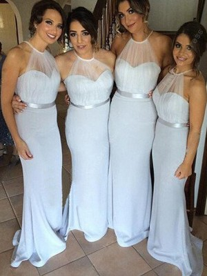 Silver Sheath/Column Sleeveless Long Halter Elastic Woven Satin Bridesmaid Dress With Sash/Ribbon/Belt