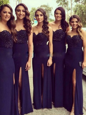 Dark Navy A-Line/Princess Sweetheart Sleeveless Long Spandex Bridesmaid Dress With Lace