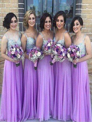 Lilac A-Line/Princess Sleeveless Sweetheart Long Chiffon Bridesmaid Dress With Sequin