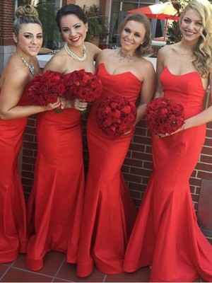 Red Trumpet/Mermaid Sweetheart Sleeveless Sweep/Brush Train Satin Bridesmaid Dress