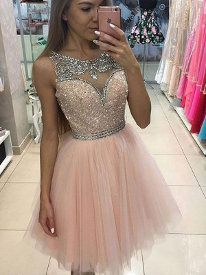 A-Line/Princess Sleeveless Scoop Short/Mini Tulle Dress With Beading