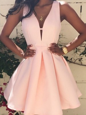 A-Line/Princess Sleeveless V-neck Short/Mini Satin Dress