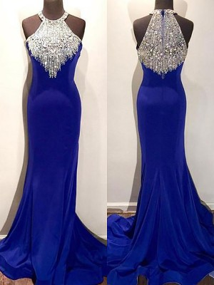 Trumpet/Mermaid Halter Sleeveless Sweep/Brush Train Beading Satin Dresses