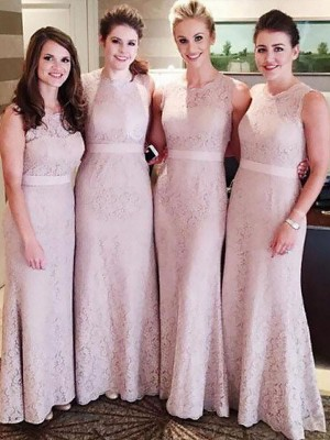 Sheath/Column Scoop Floor-Length Lace Bridesmaid Dresses