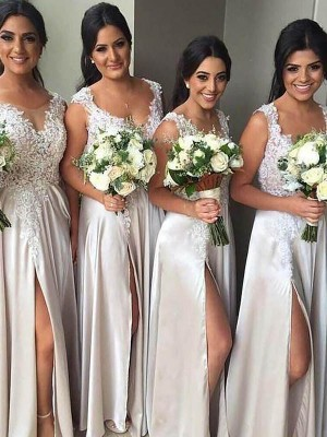Sheath/Column V-neck Floor-Length Silk like Satin Bridesmaid Dresses
