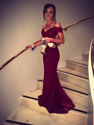 Burgundy Lace Off-the-Shoulder Trumpet/Mermaid Sweep/Brush Train Dresses