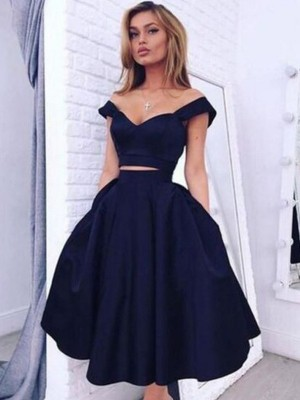 A-Line/Princess Off-the-Shoulder Sleeveless Tea-Length Satin Dress With Beading