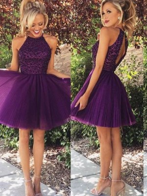 A-Line/Princess Halter Sleeveless Short/Mini Tulle Dress With Beading