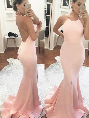 Trumpet/Mermaid Halter Satin Sweep/Brush Train Dresses
