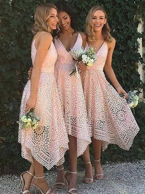 Pink A-Line/Princess Sleeveless V-neck Asymmetrical Bridesmaid Dress With Lace