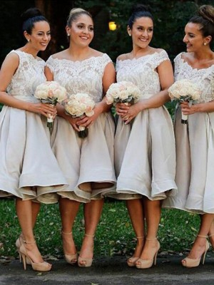 Ivory A-Line/Princess Off-the-Shoulder Sleeveless Chiffon Knee-Length Bridesmaid Dress