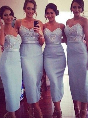 Blue Sheath/Column Spaghetti Straps Sleeveless Satin Knee-Length Bridesmaid Dress