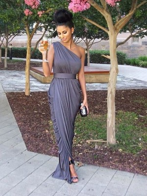 Grey Sheath/Column One-Shoulder Sleeveless Long Jersey Bridesmaid Dress