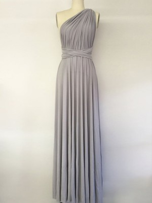 Grey A-Line/Princess One-Shoulder Sleeveless Long Spandex Bridesmaid Dress
