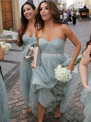 Grey A-Line/Princess Sweetheart Sleeveless Long Tulle Bridesmaid Dress With Beading
