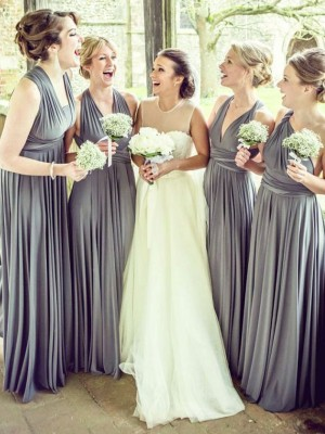 Grey A-Line/Princess Sleeveless Chiffon Long Bridesmaid Dress
