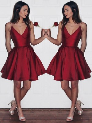 A-Line/Princess V-neck Satin Short/Mini Dresses