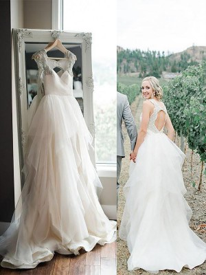 A-Line/Princess Straps Sweep/Brush Train Tulle Sleeveless Wedding Dresses