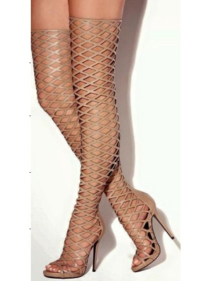 Women's PU Peep Toe Stiletto Heel Platform Over The Knee Boots