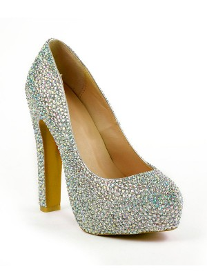 Women's Stiletto Heel Closed Toe With Rhinestones Platform Shoes