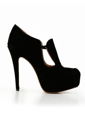 Women's Stiletto Heel Suede Closed Toe Platform Shoes