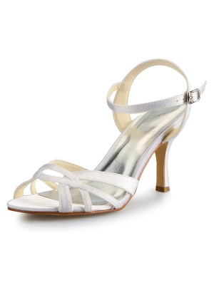 Women's Stiletto Heel Peep Toe Satin With Buckle Sandal Shoes