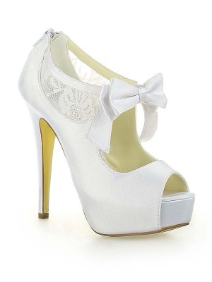 Women's Satin Lace Platform Peep Toe With Bowknot Stiletto Heel Wedding Shoes