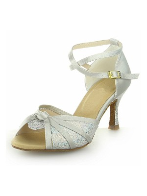 Women's Peep Toe With Sparkling Glitter Satin Stiletto Heel Wedding Shoes